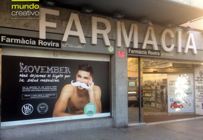 Escaparate farmacia Movember